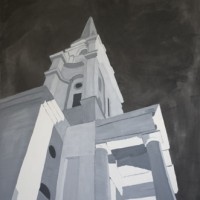 Christ Church Spitalfields at night, an oil painting by Mark Liebenrood