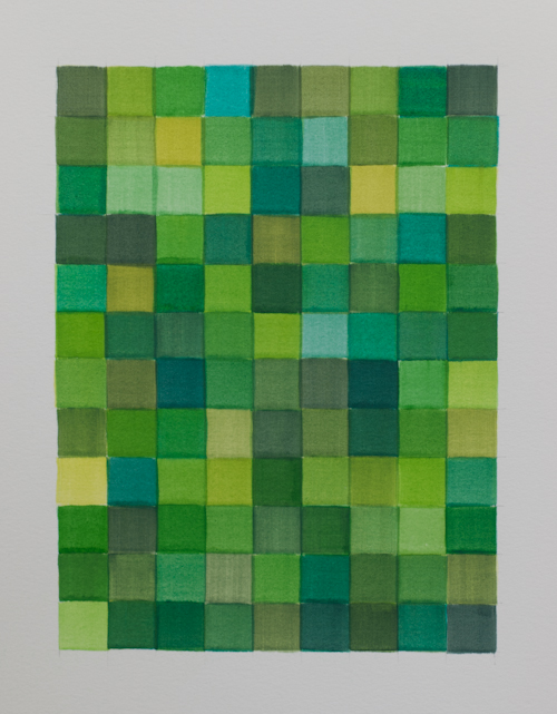 108 Greens, Watercolour on paper