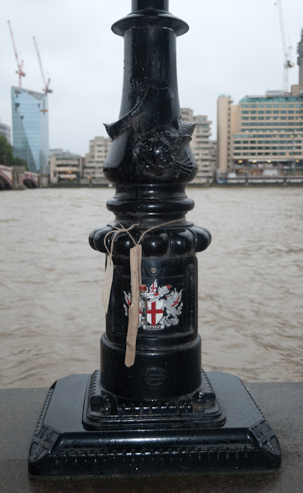 River Fleet offering on Blackfriars Embankment, London