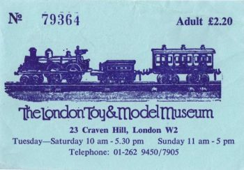Ticket for The London Toy and Model Museum