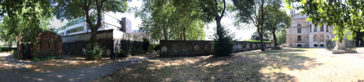 Panoramic view of the churchyard at St George in the East
