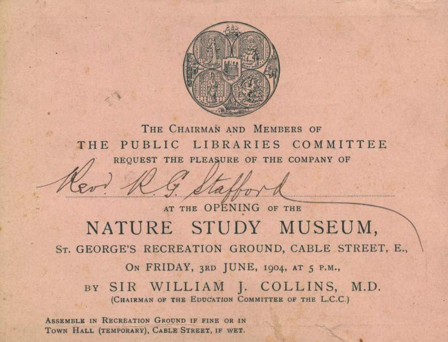 Invitation to the opening of the Nature Study Museum 3rd June 1904