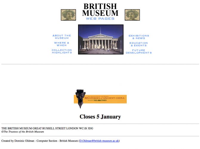 British Museum home page in 1998