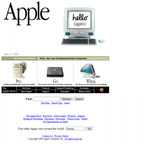 Apple's home page in 1998