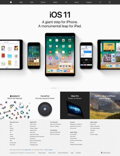 Apple Home Page in 2017
