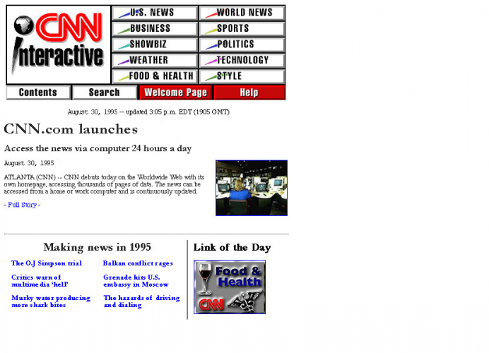 CNN's home page in 1995